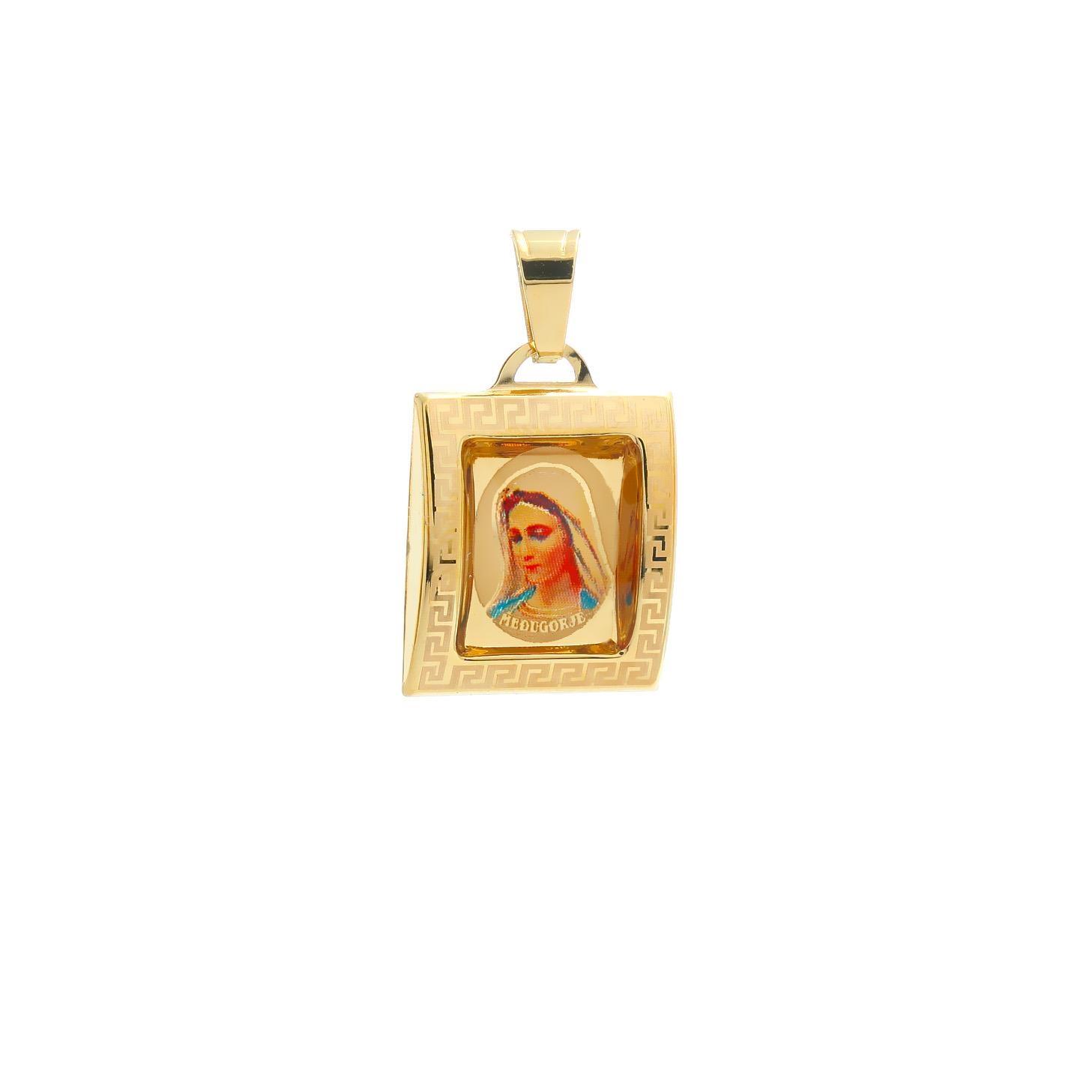 Medailón Panny Márie Medžugorskej zo žltého zlata 10VS00459
