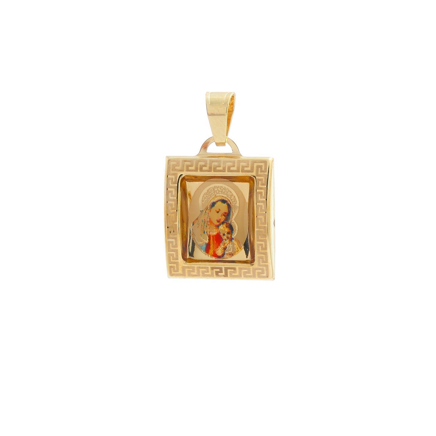 Medailón Panny Márie s dieťaťom zo žltého zlata 10VS00460