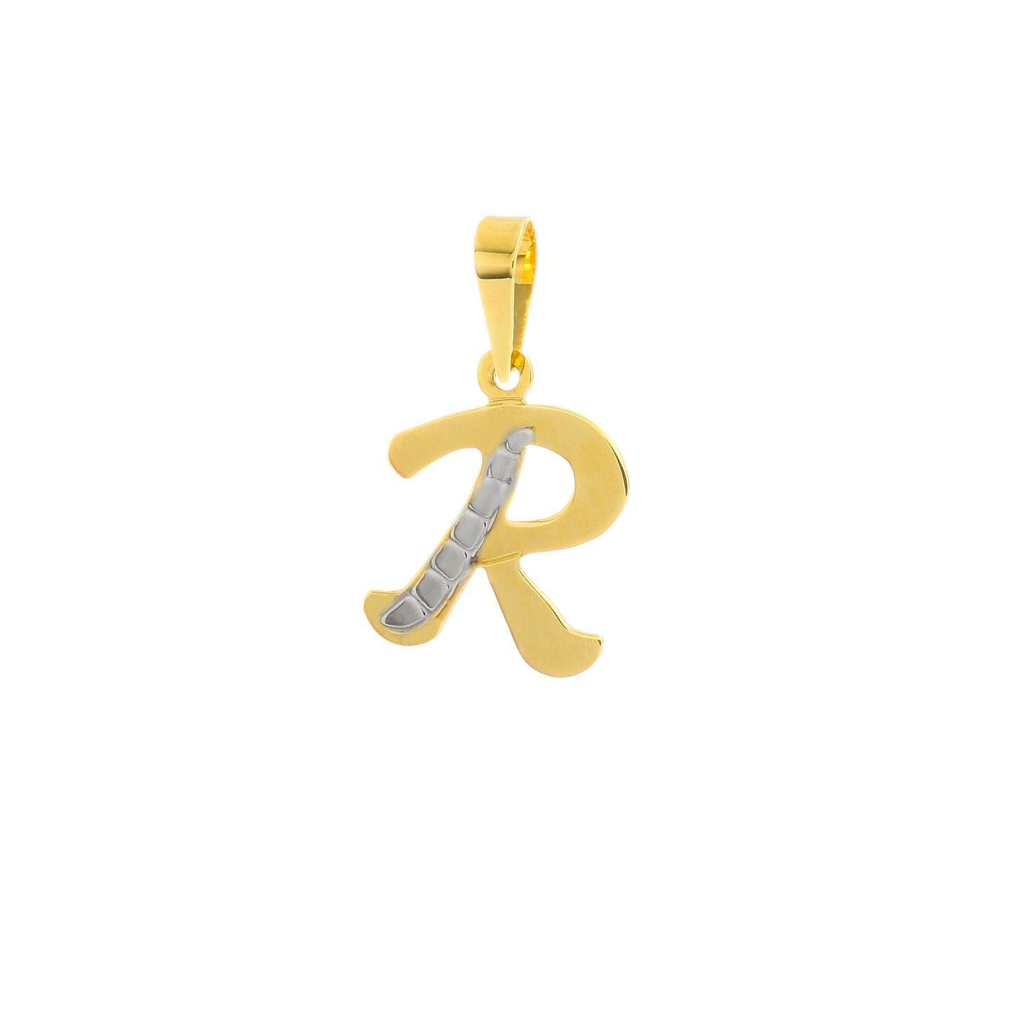 Prívesok písmenko R zo žltého zlata 1VZ00343