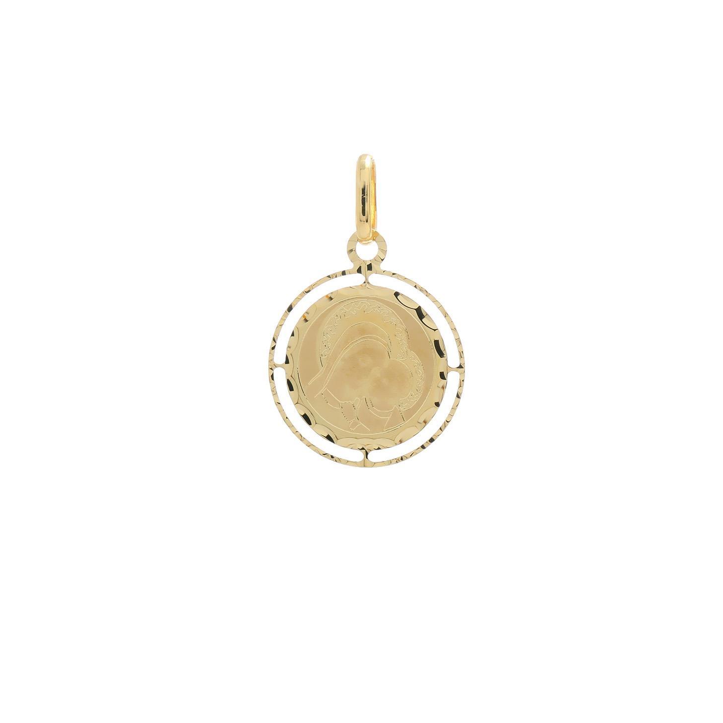 Zlatá okrúhla madonka Božej Matky s dieťaťom 10VS00473