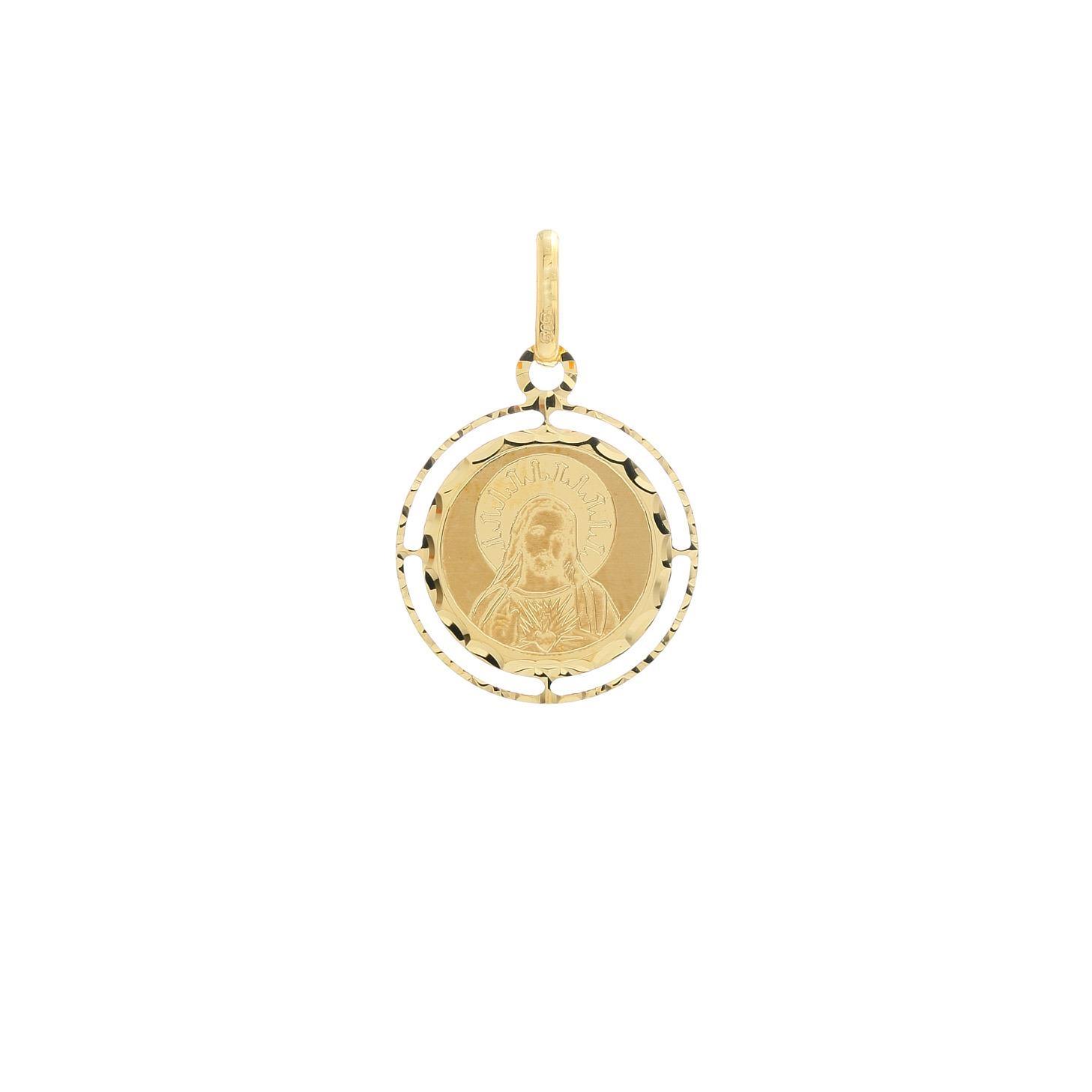 Zlatá okrúhla madonka Božské Srdce Ježišovo 10VS00474