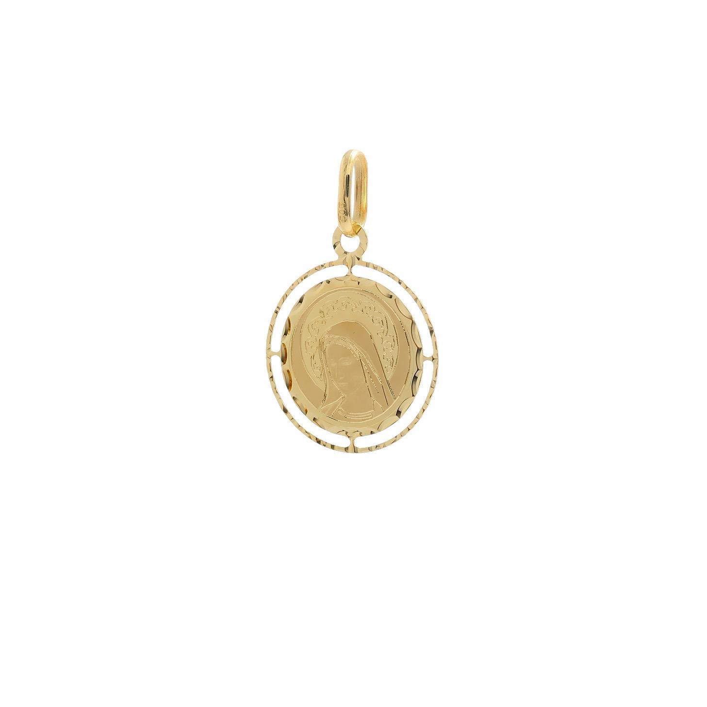 Zlatá okrúhla madonka Panny Márie Medžugorskej 10VS00475