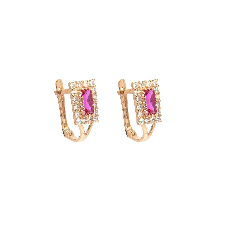 Zlaté dámske náušnice ROMANCA pink 4NZ00213
