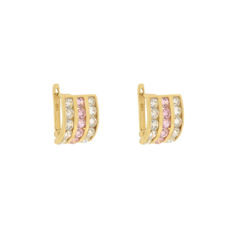 Zlaté dievčenské náušnice MARIA pink 1NZ00154