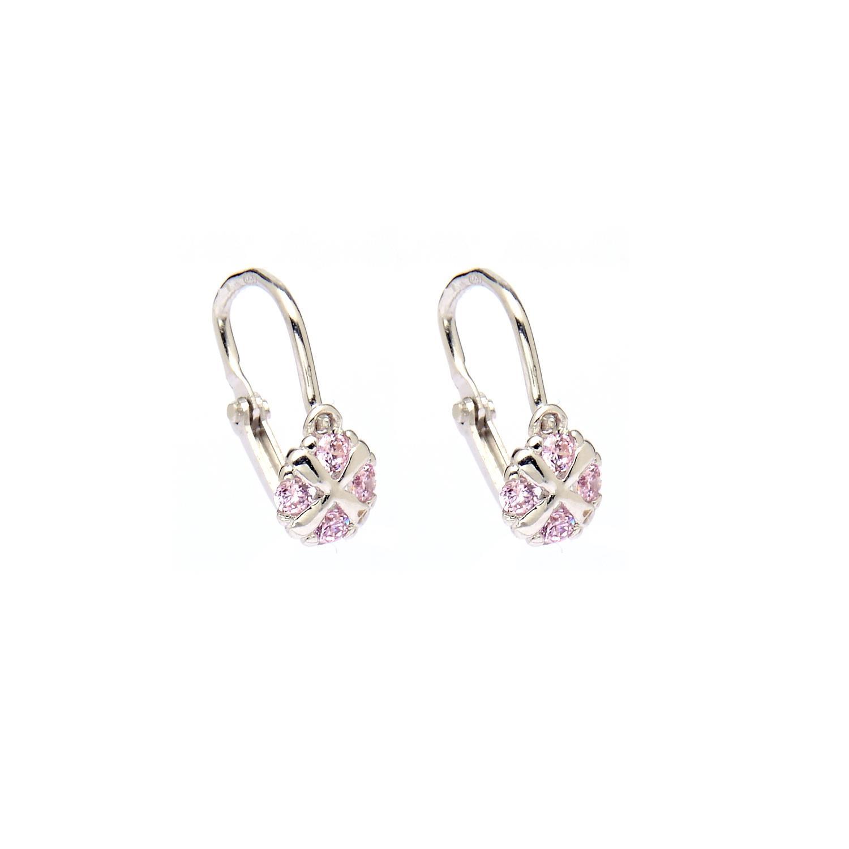 Zlaté náušnice KVIETOK s ružovými kamienkami white 2NB00110