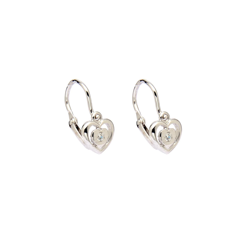 Zlaté náušnice srdce v srdci s bielym kamienkom 2NB00081