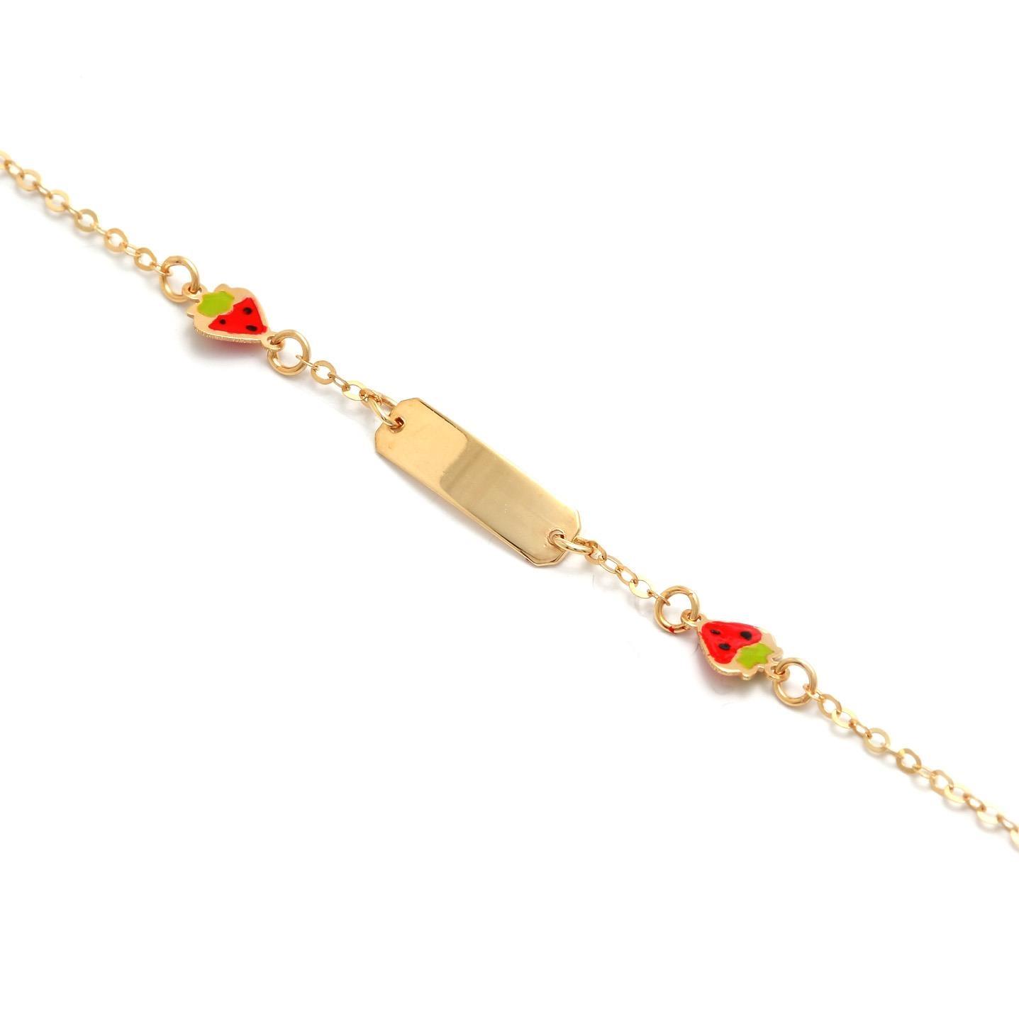 Zlatý detský náramok s jahôdkami 5MZ00038