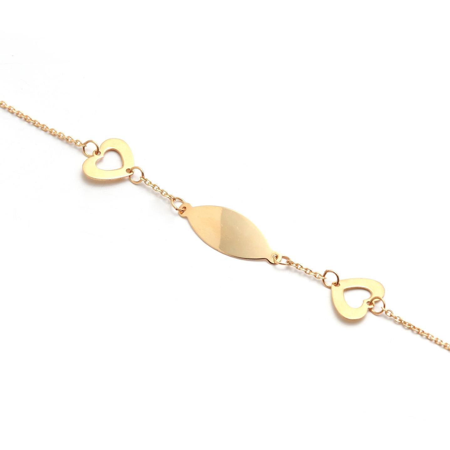 Zlatý dievčenský náramok so srdiečkami 5MZ00062