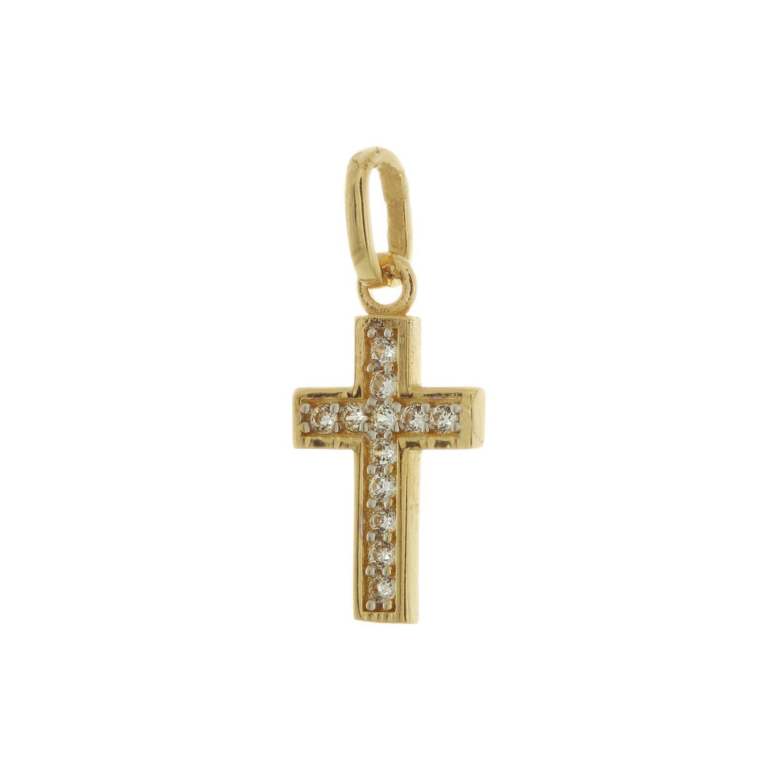 Zlatý krížik s bielymi kamienkami 1VZ00058