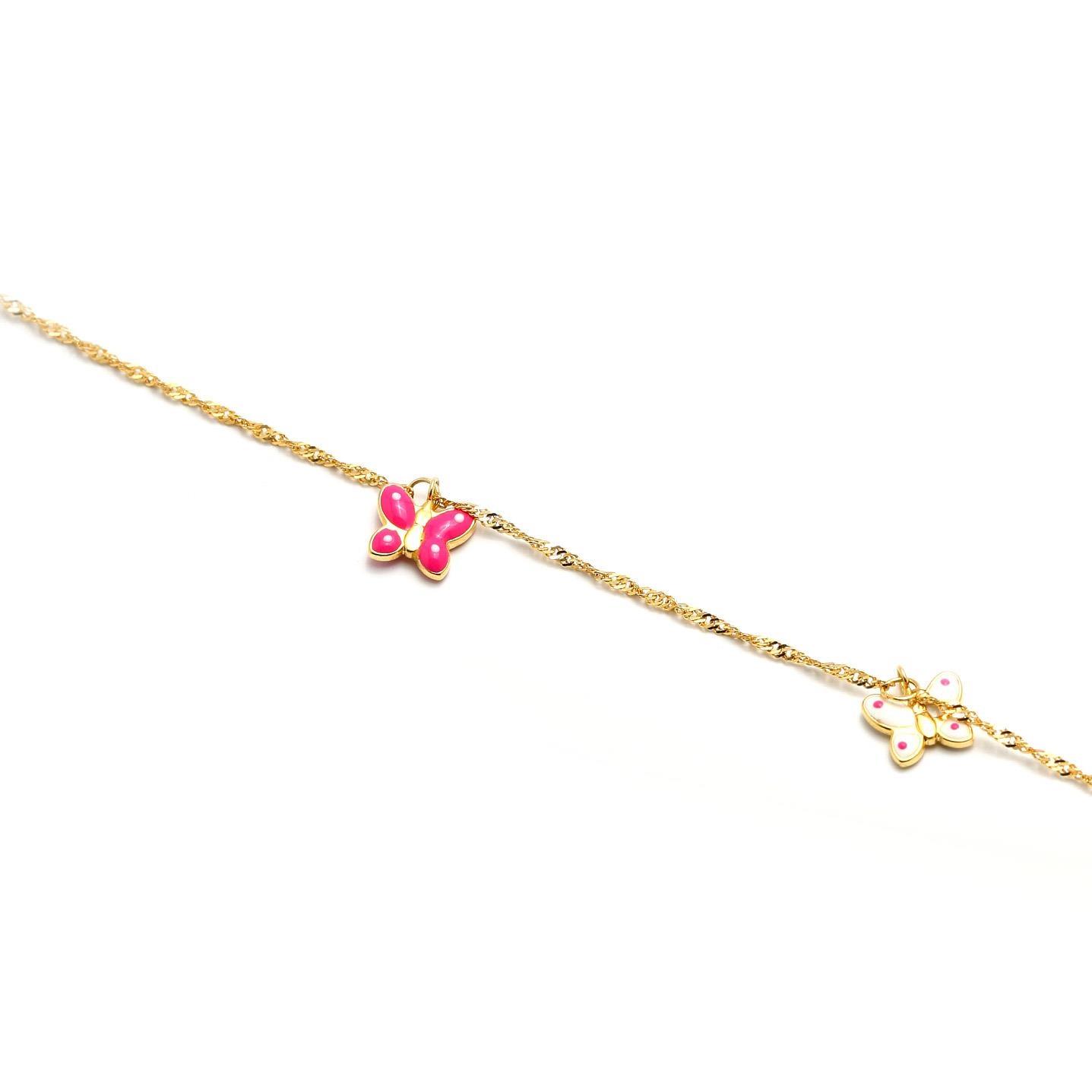 Zlatý náramok s ružovo-bielymi motýlikmi  5MZ00098