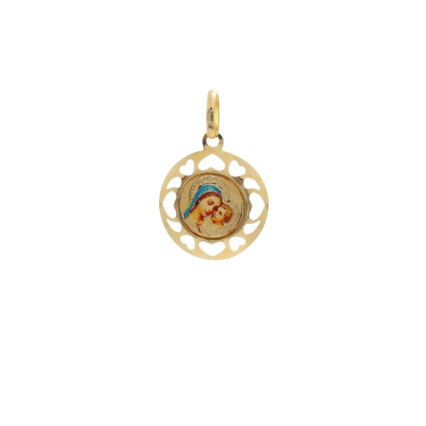 Zlatý okrúhly medailón Božej Matky s dieťaťom  10VS00461