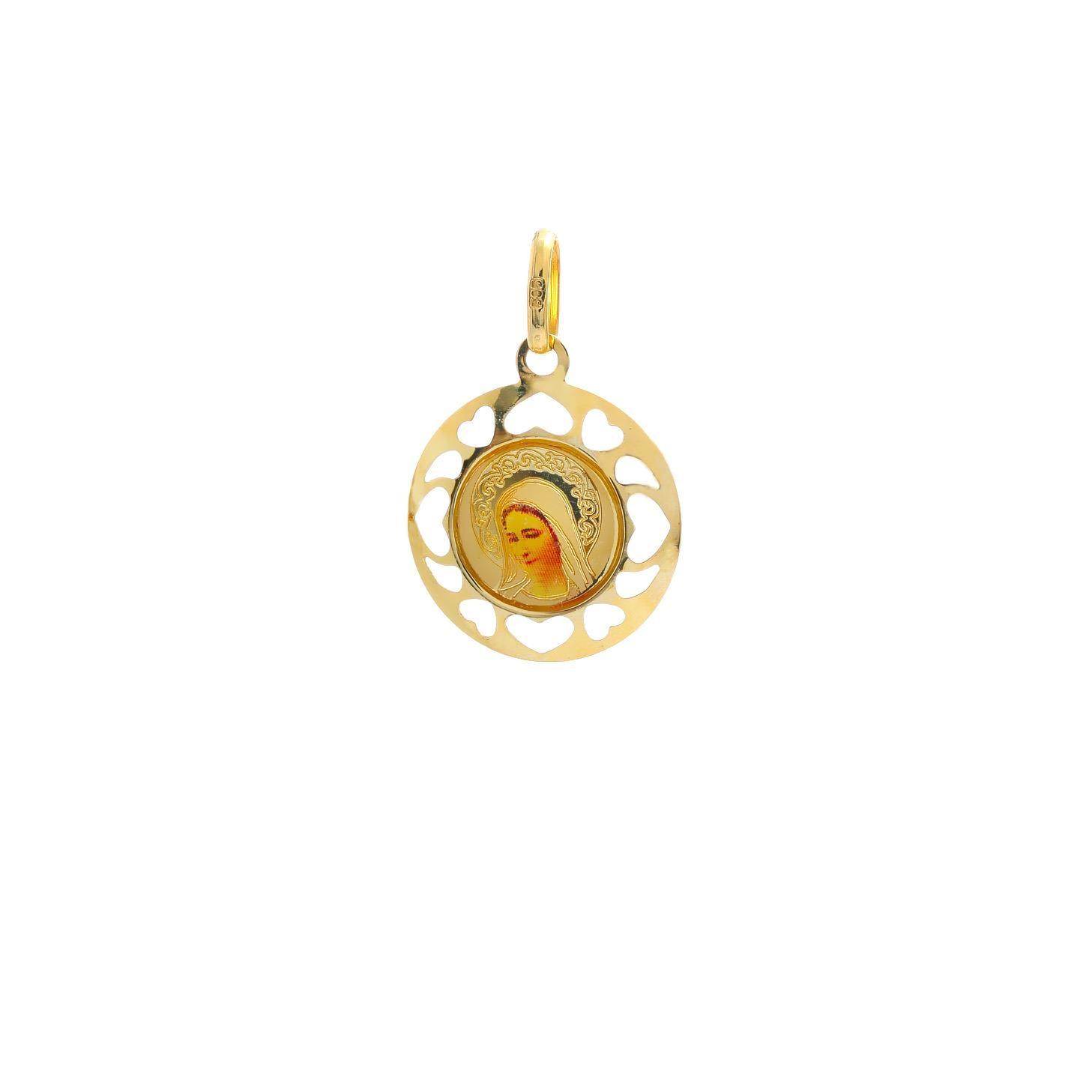 Zlatý okrúhly medailón Božia Matka Mária 10VS00463