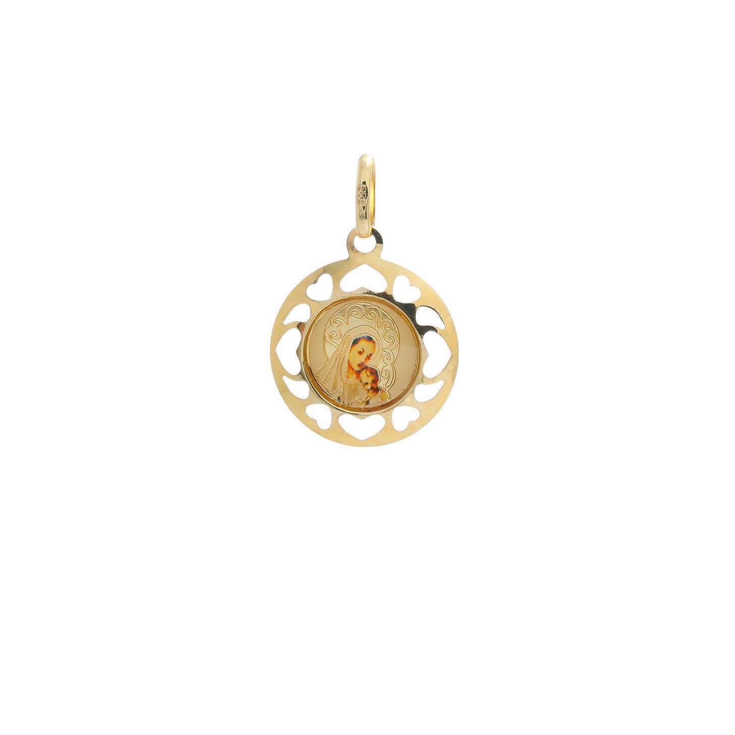 Zlatý okrúhly medailón Madony s dieťatkom  10VS00462