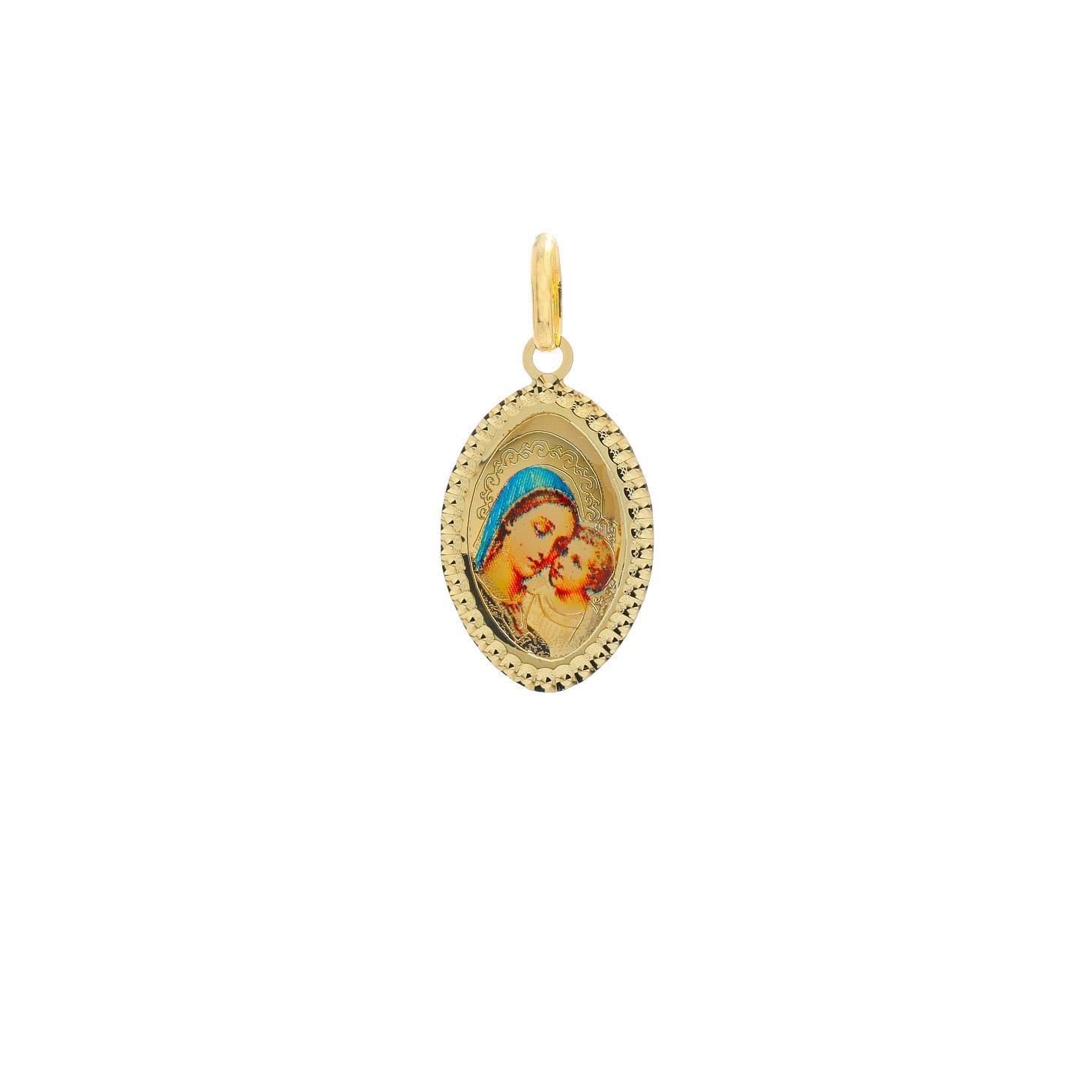 Zlatý oválny medailón Božej Matky s dieťaťom 10VS00464