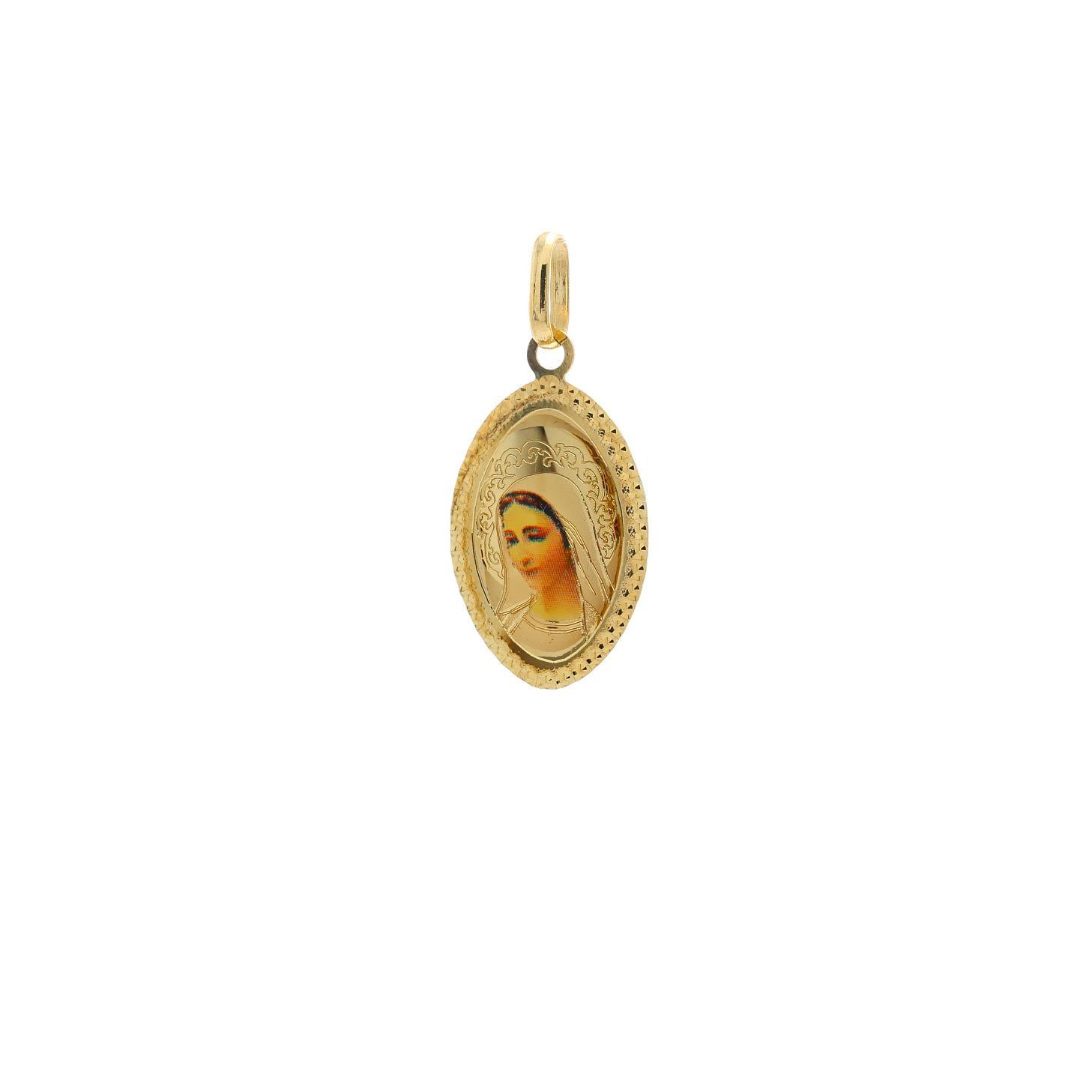 Zlatý oválny medailón Panny Márie Medžugorskej 10VS00465