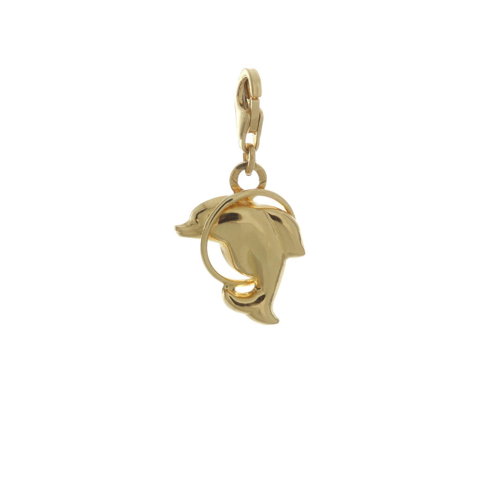 Zlatý prívesok delfín v kruhu s karabínou 1VZ00064
