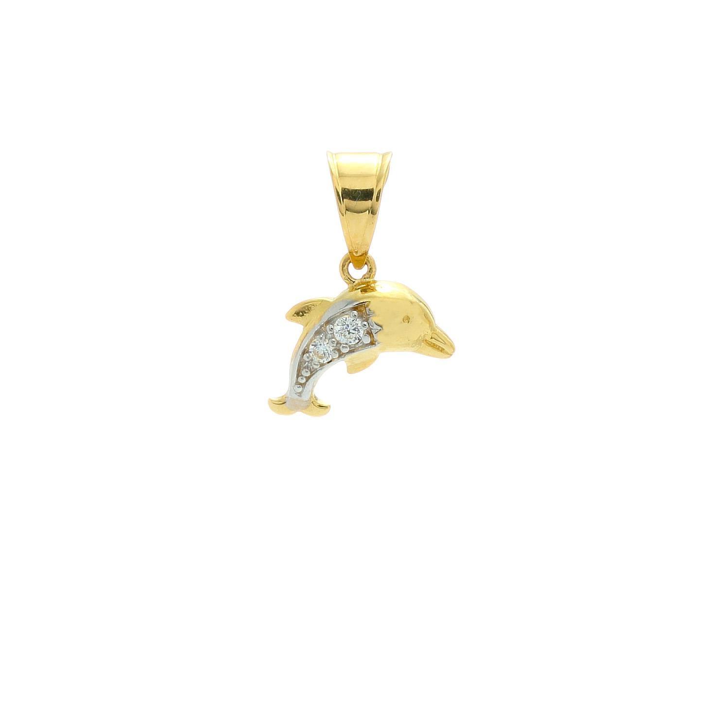 Zlatý prívesok DELFÍNIK s kamienkami 1VZ00325