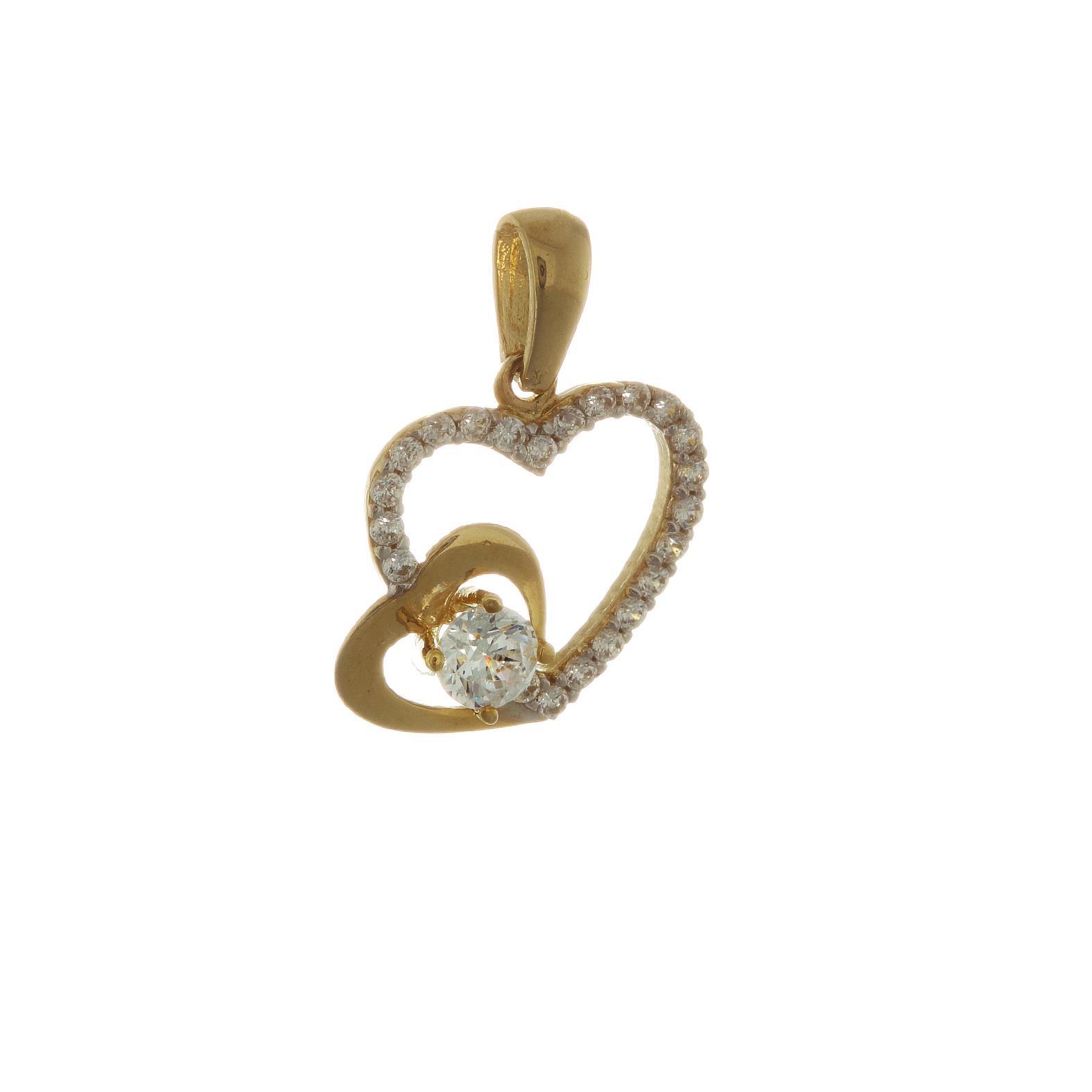 Zlatý prívesok DOUBLE HEART 1VZ00089