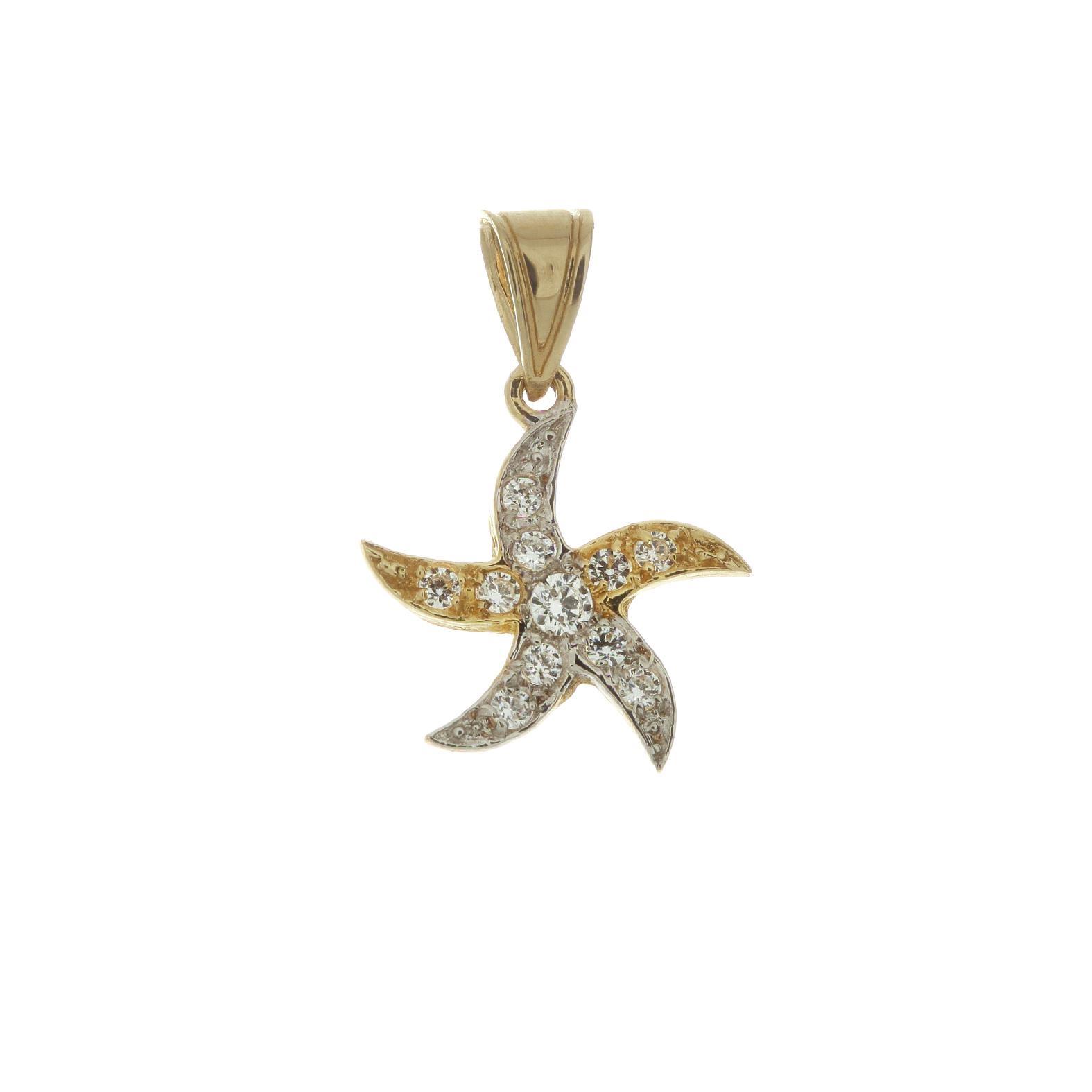 Zlatý prívesok hviezdica s bielymi zirkónmi 1VK00044