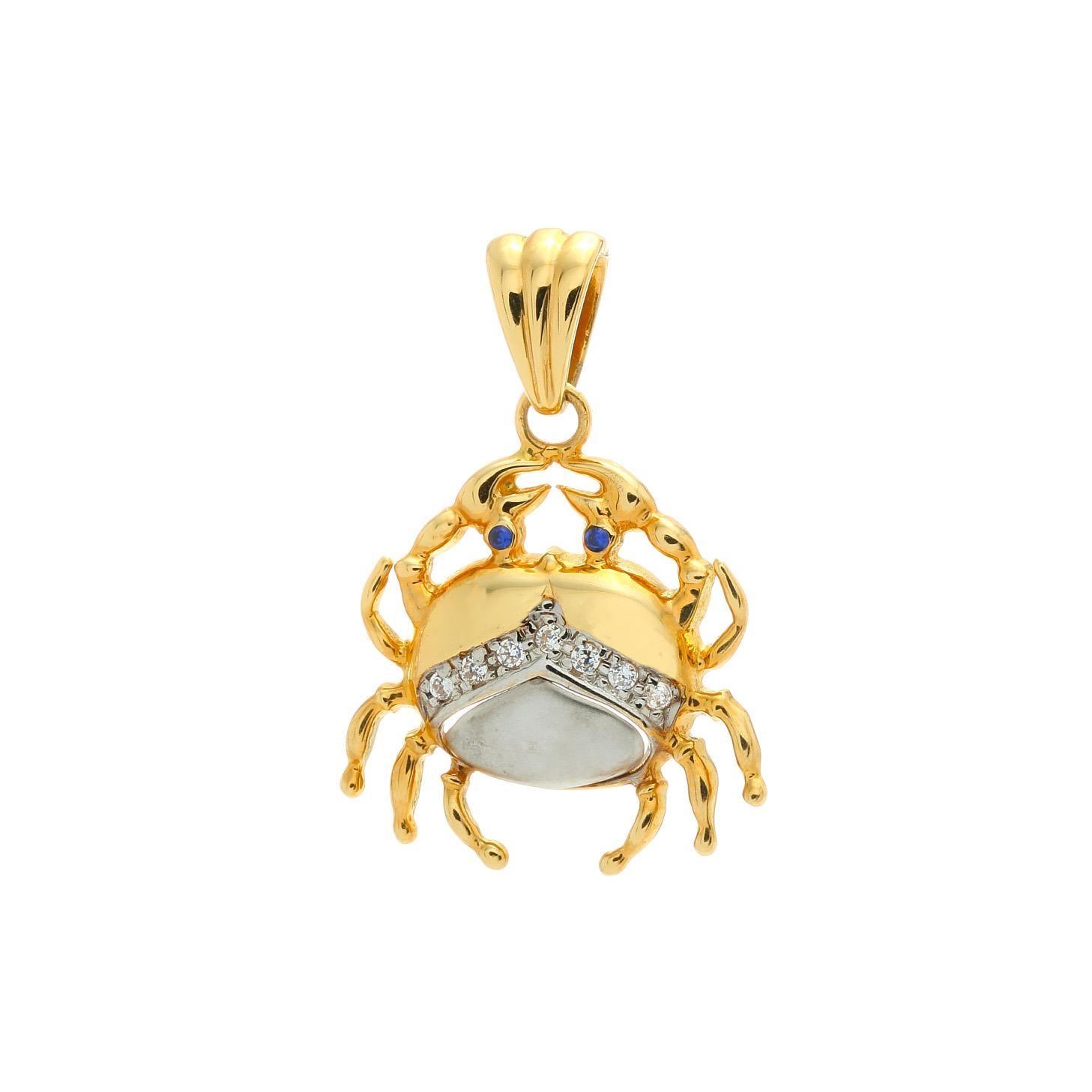 Zlatý prívesok KRAB s bielymi kamienkami 1VK00315