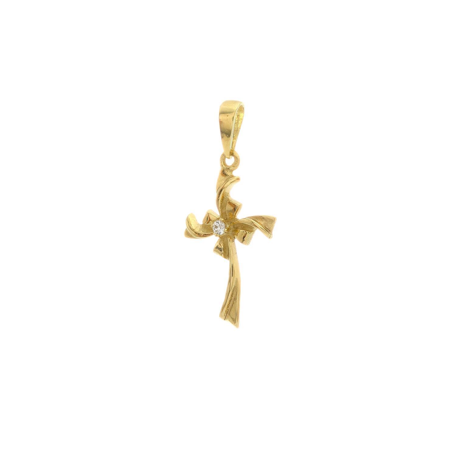 Zlatý prívesok KRÍŽIK s bielym kamienkom 3VZ00419