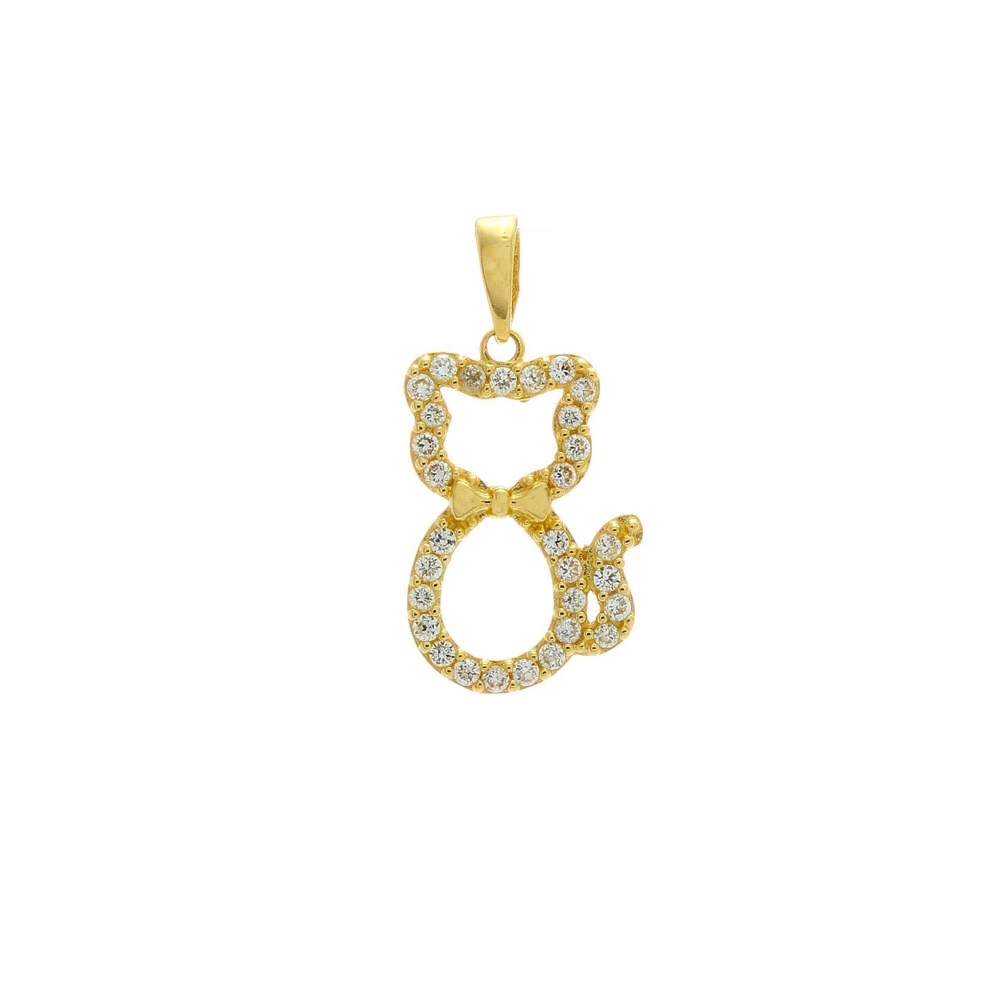 Zlatý prívesok MAČIČKA s kamienkami 1VZ00370