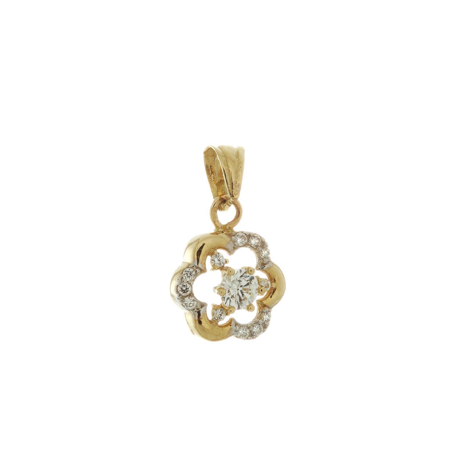 Zlatý prívesok s bielymi kamienkami Agatha 1VZ00056