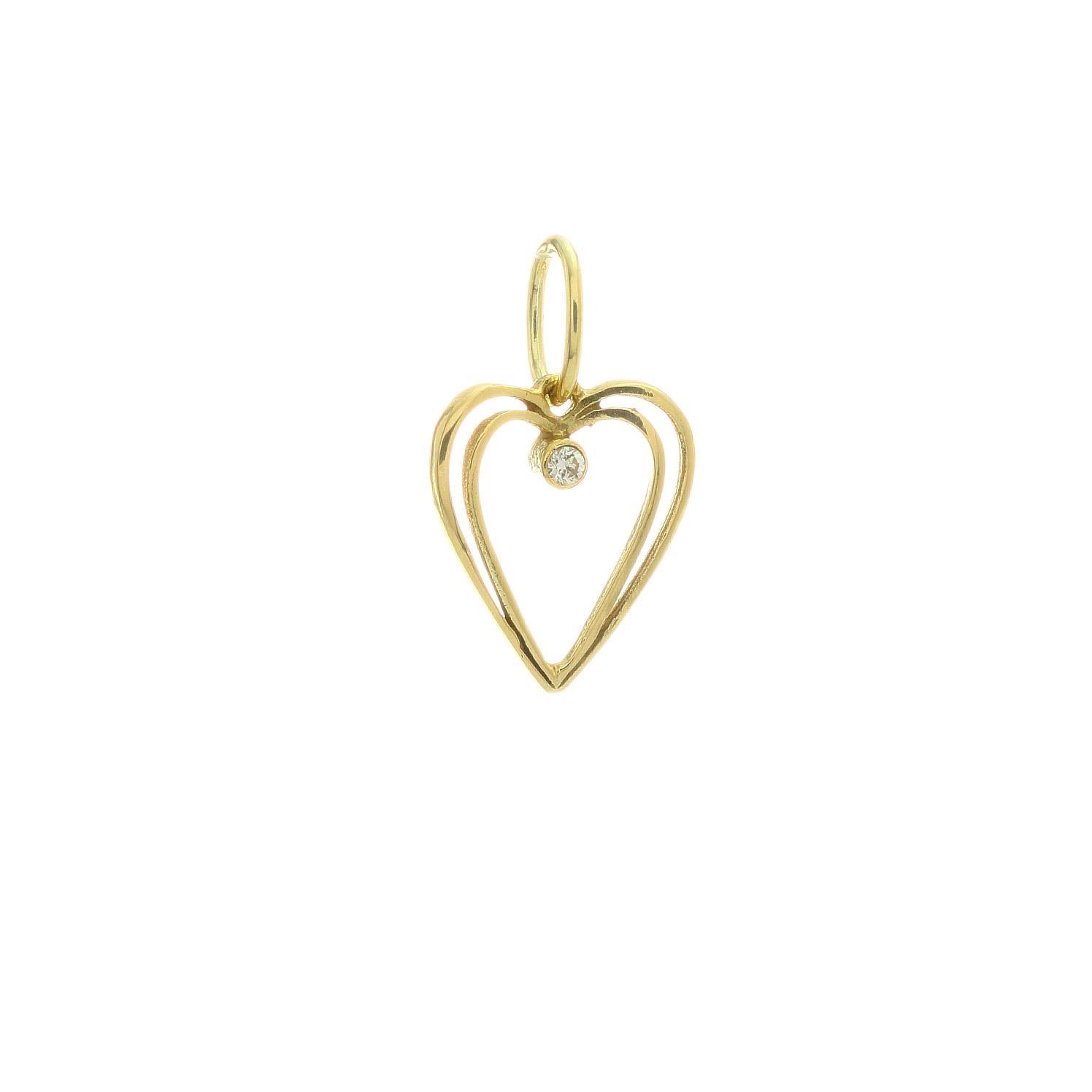 Zlatý prívesok SRDCE s kamienkom 3VZ00415