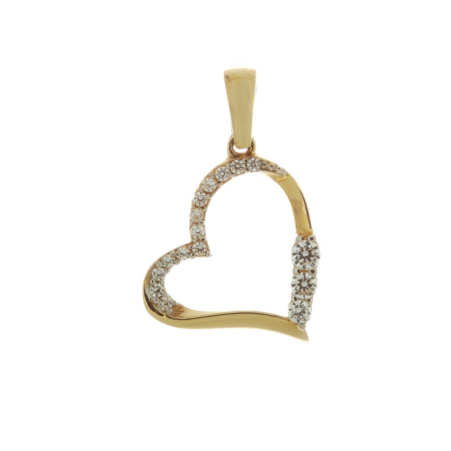 Zlatý prívesok srdce so zirkónmi 1VZ00054
