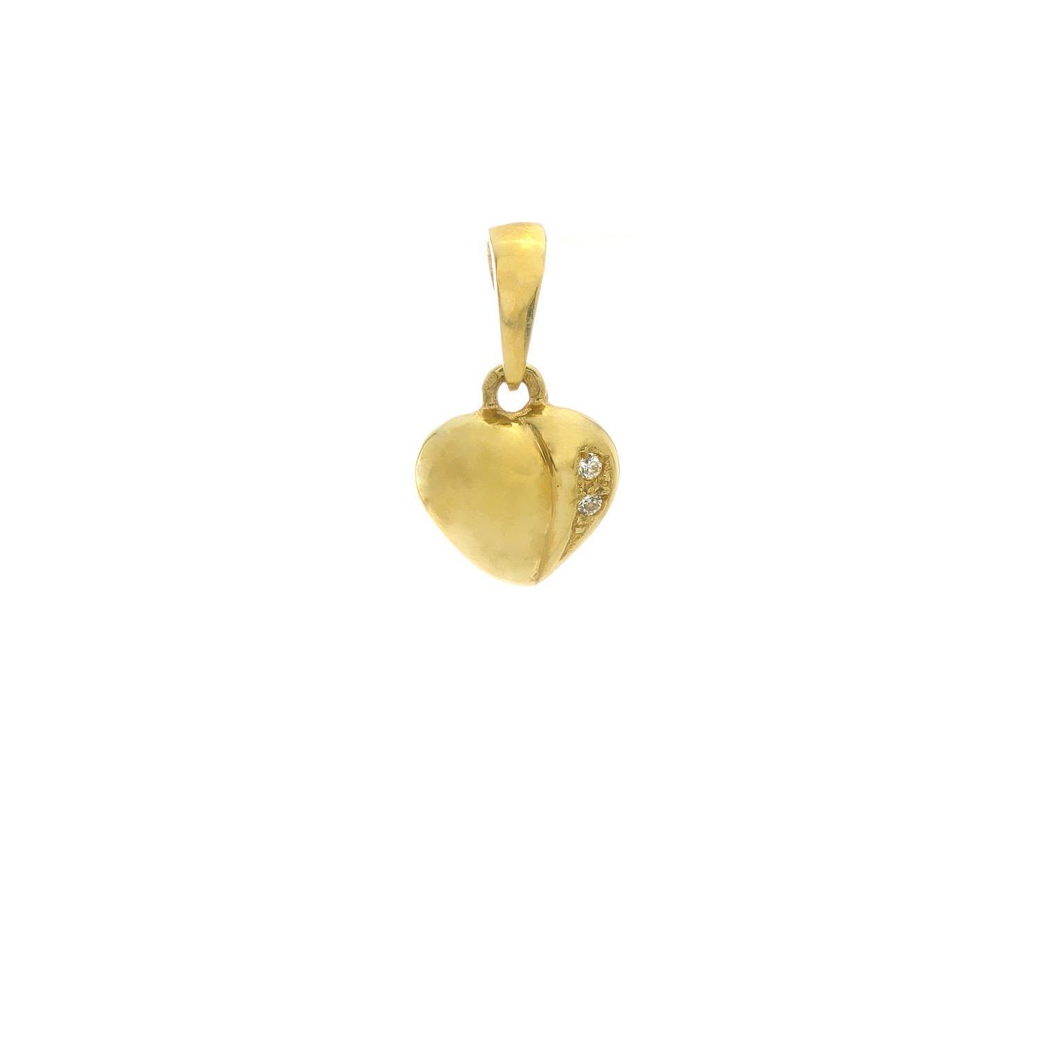 Zlatý prívesok SRDIEČKO s bielymi kamienkami 3VZ00309