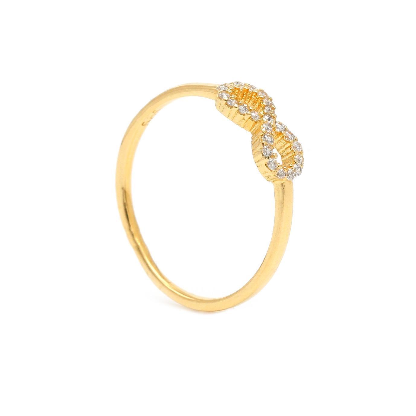 Zlatý prsteň INFINITY s bielymi kamienkami 1PZ00398_58I