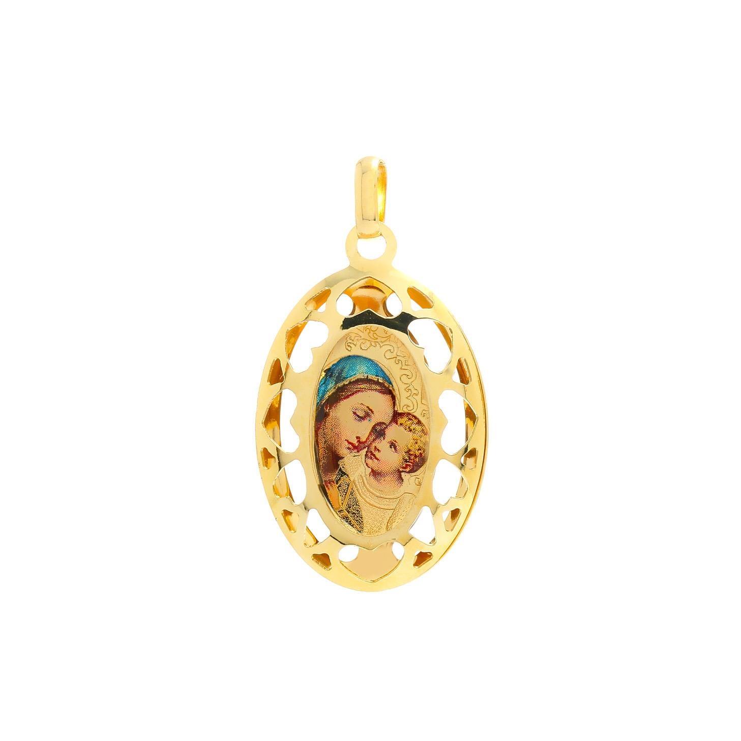 Zlatý veľký medailón Madony s dieťaťom 10VS00452