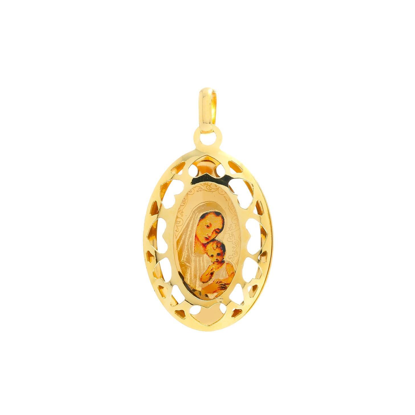 Zlatý veľký medailón Panny Márie s dieťaťom 10VS00453