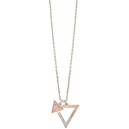 Guess Bronzový náhrdelník s trojúhelníkovými přívěsky UBN83092
