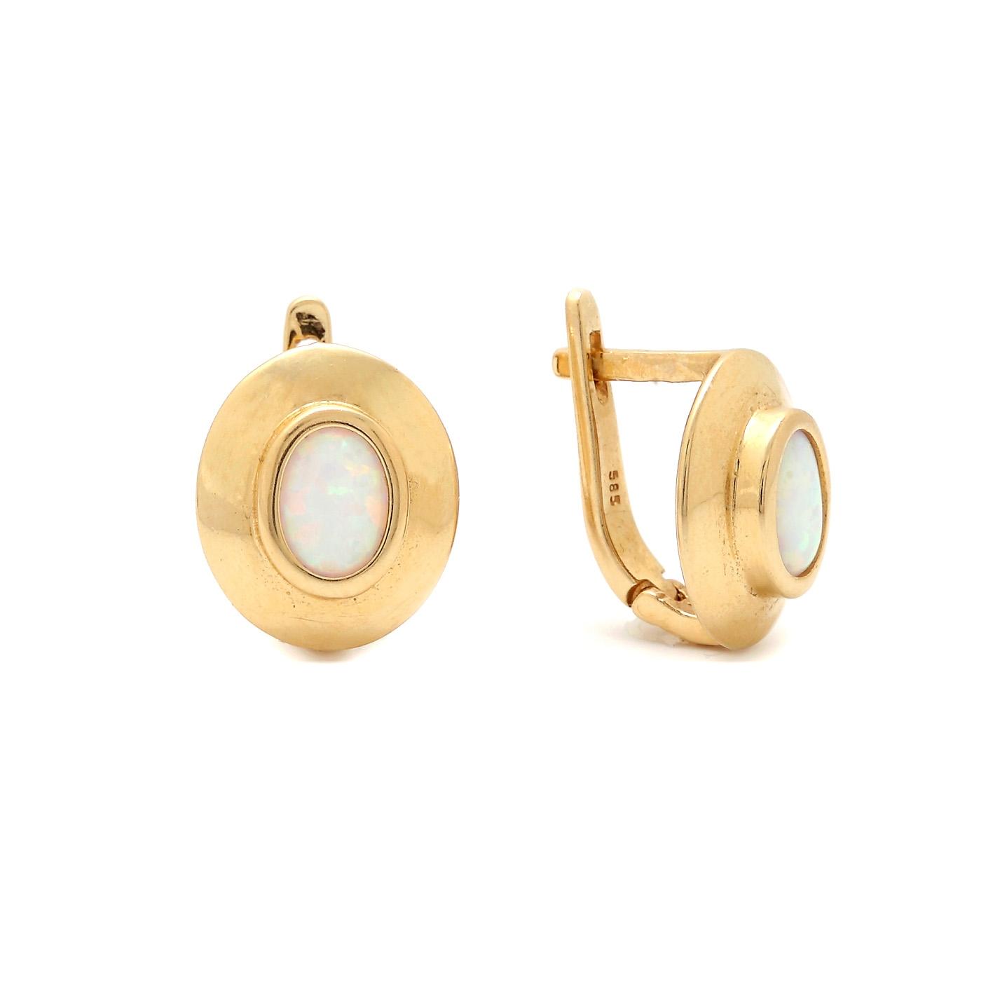 Zlaté náušnice CHANA s opálom