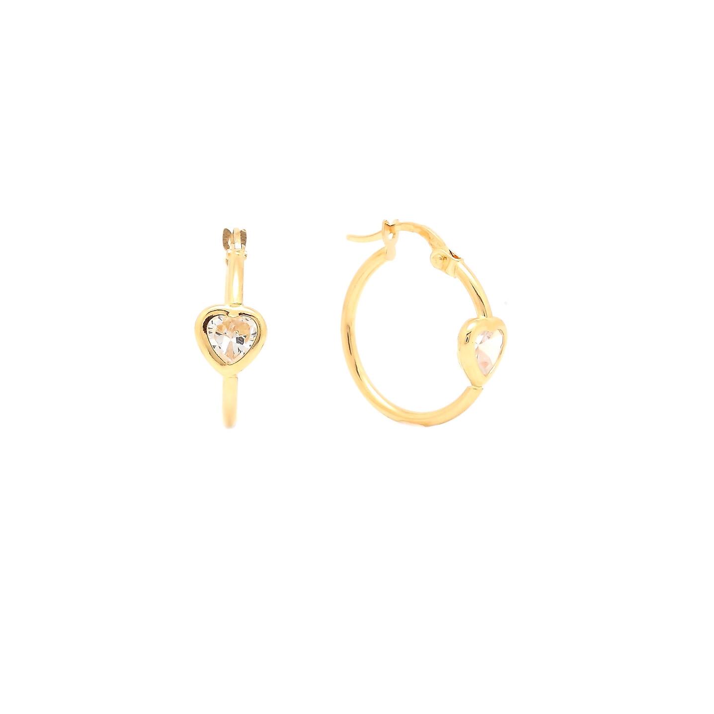 Zlaté dievčenské náušnice kruhy HEART