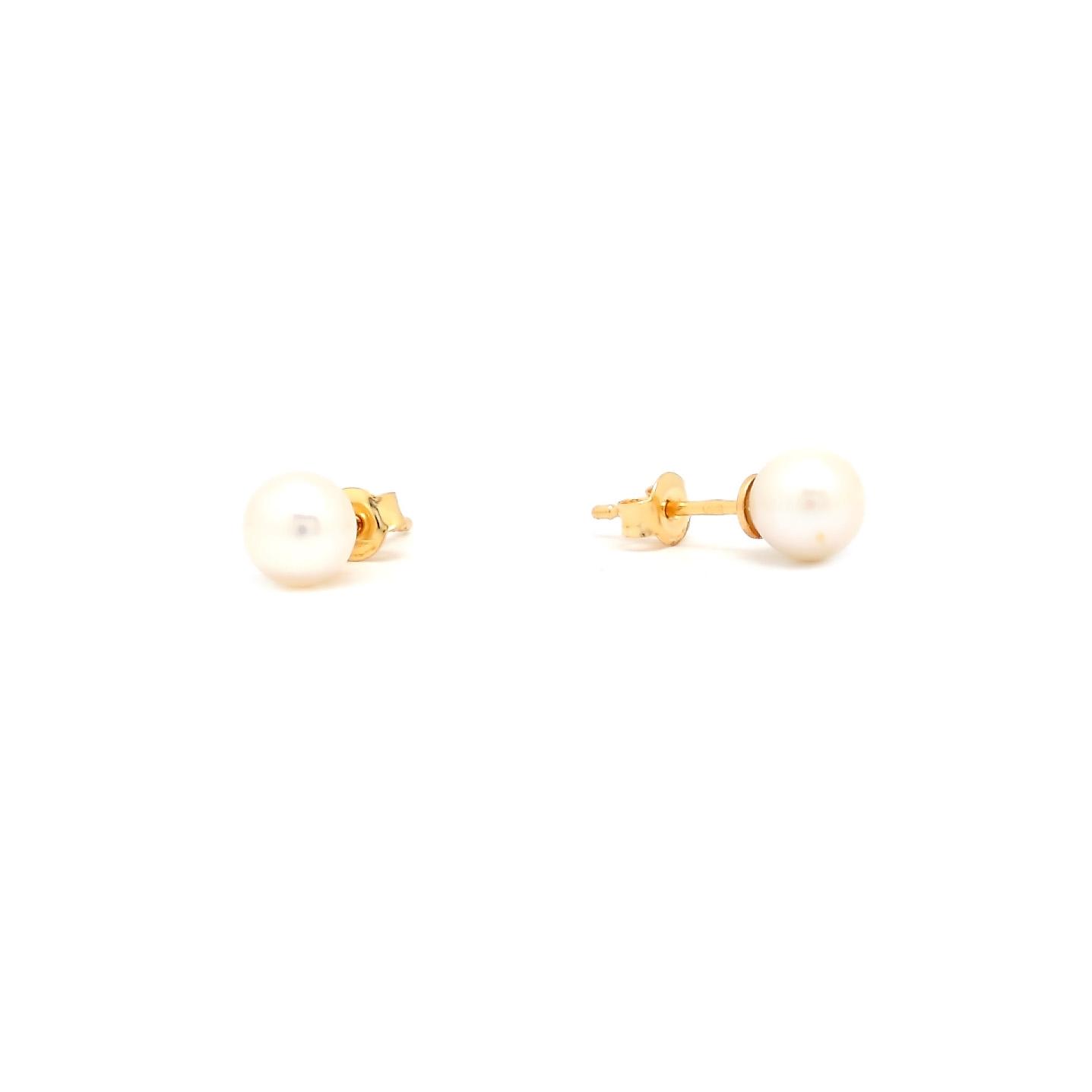 Zlaté náušnice EBONY s perlou