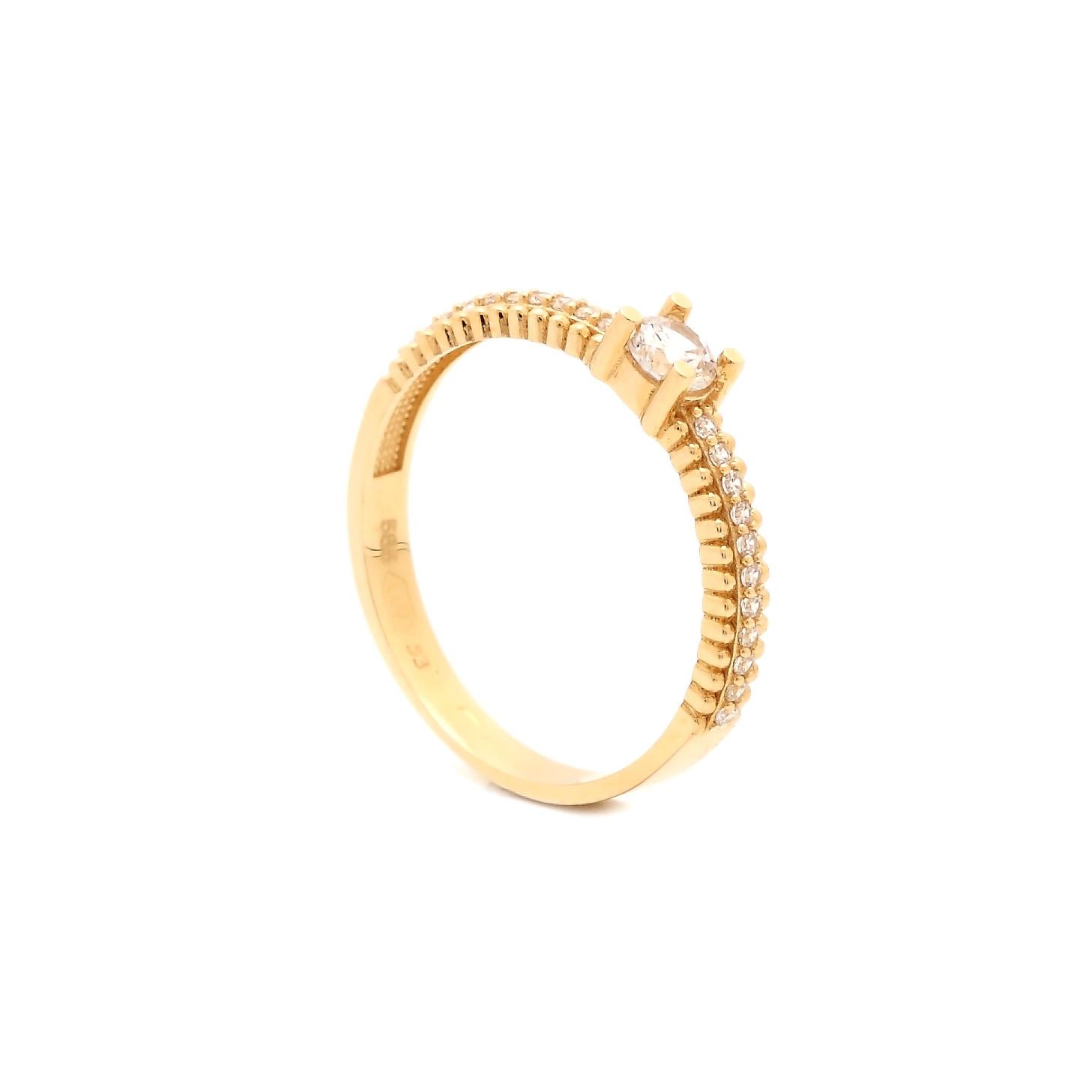 Zlatý prsteň FADILA so zirkónmi