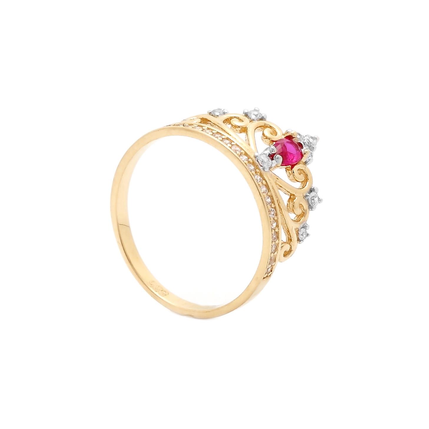 Zlatý prsteň REINE s rubínom