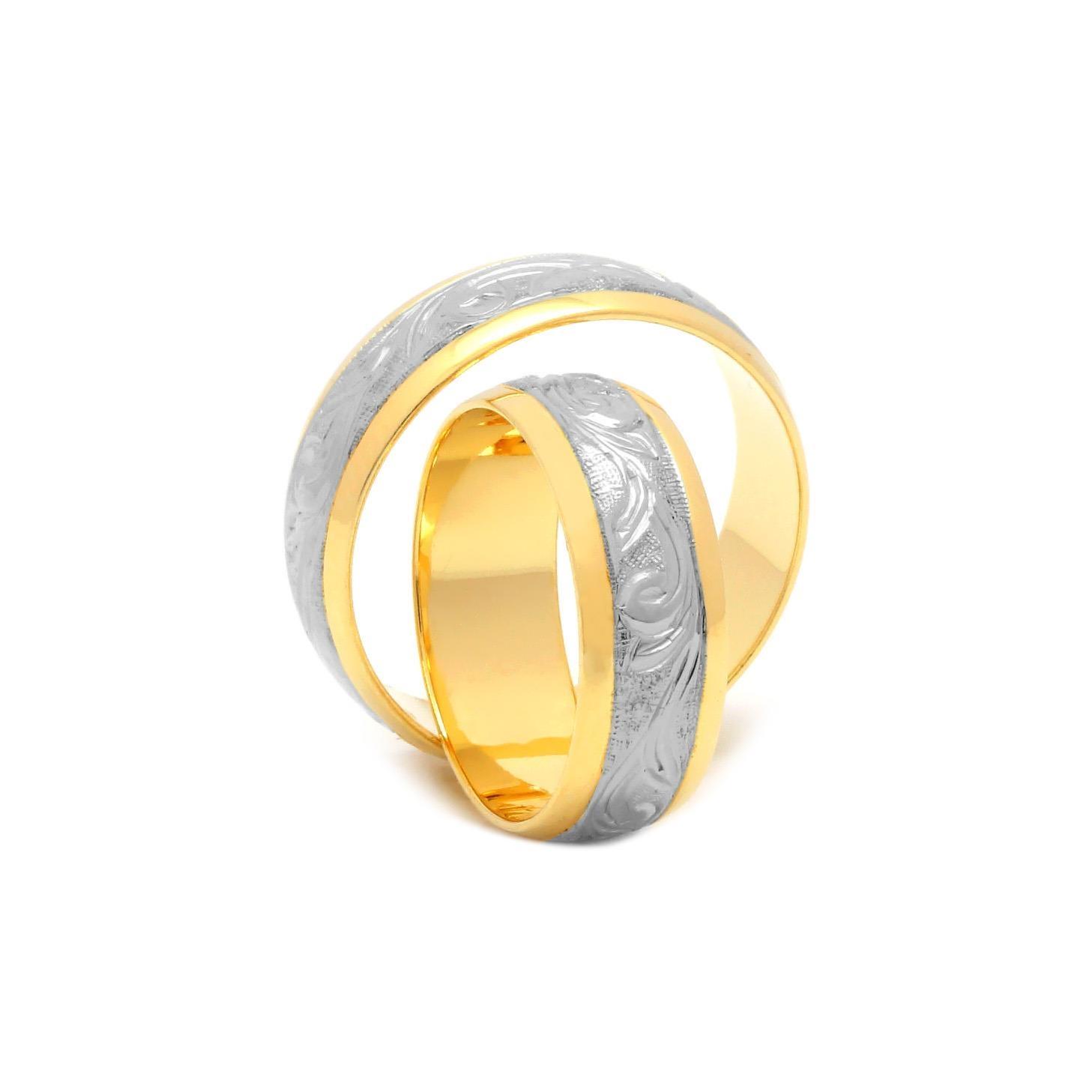Svadobné obrúčky FLORIAN z bielo-žltého zlata
