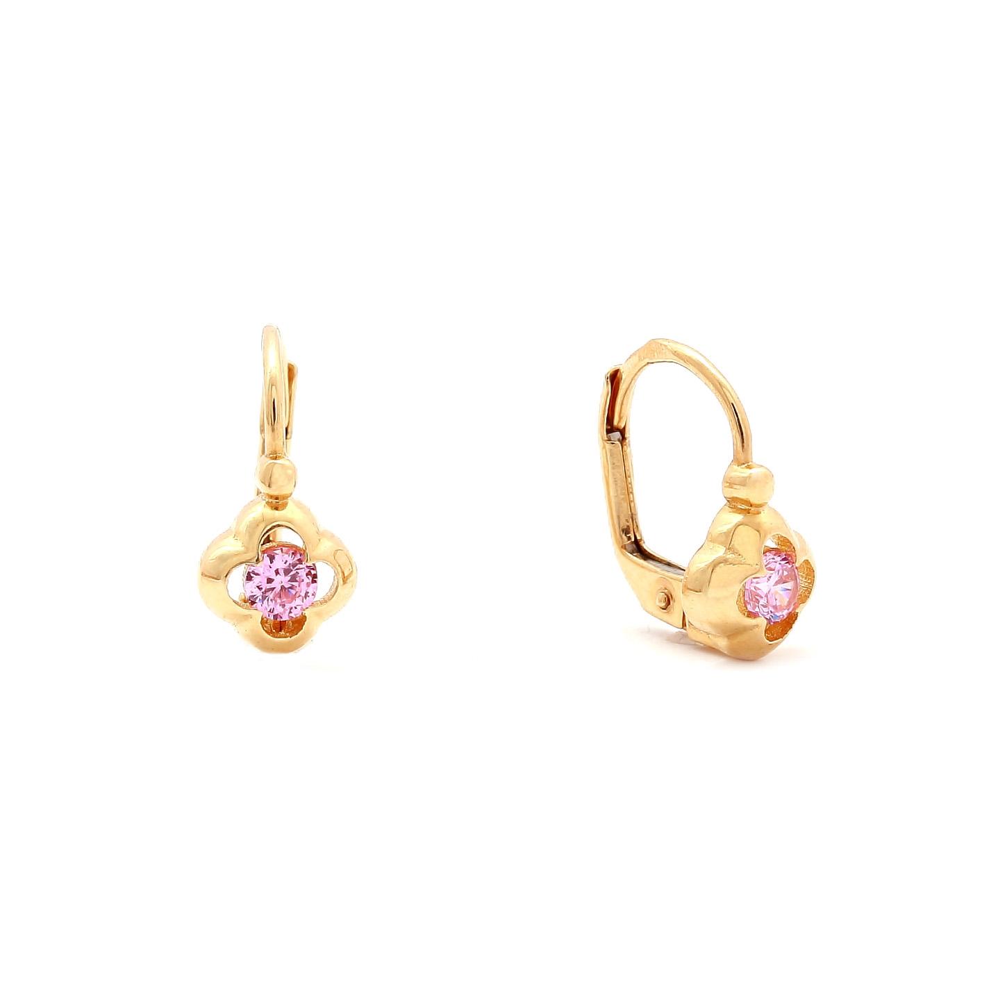 Zlaté dievčenské náušnice KVET s ružovým kameňom f003829a878