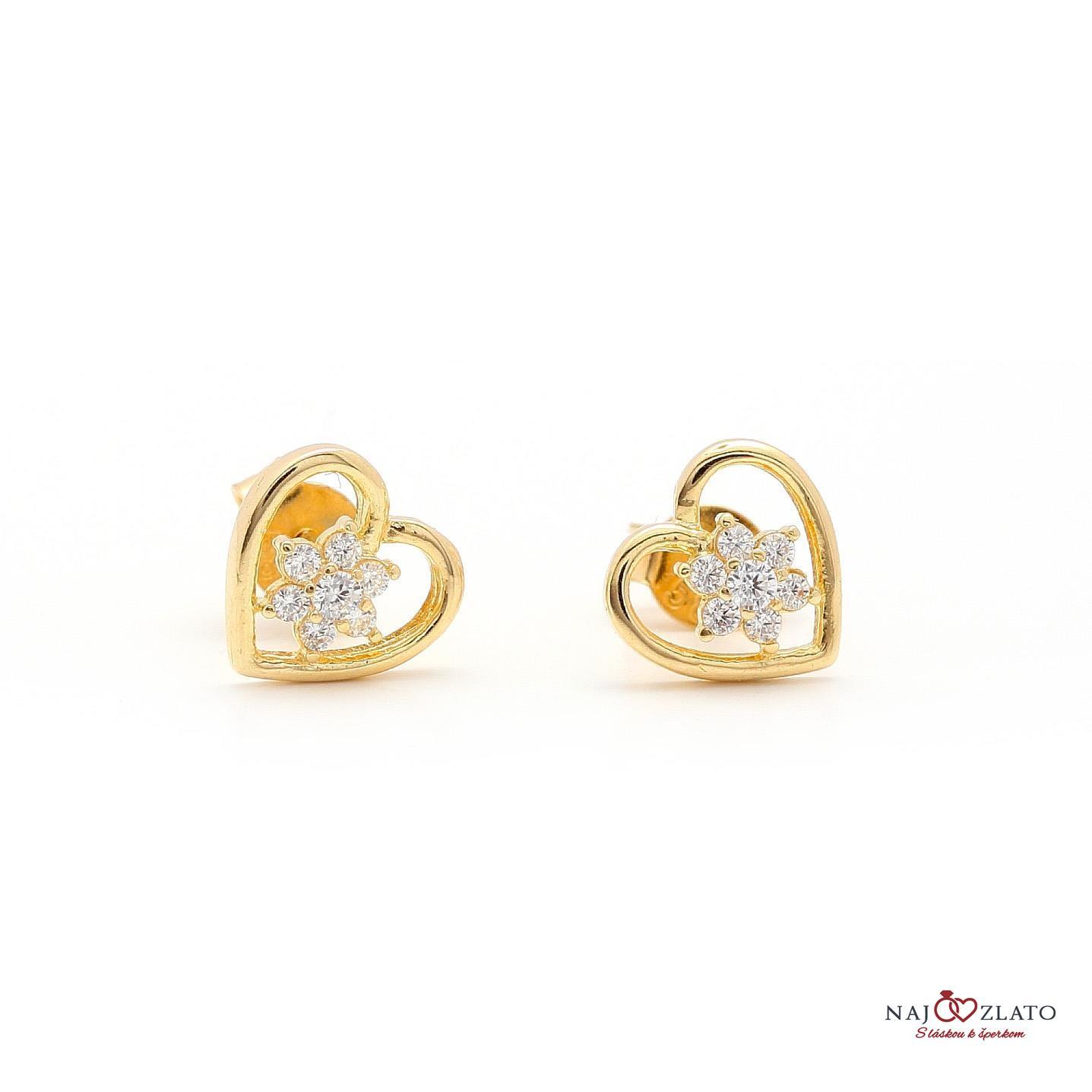 1655ea2d6 zlaté náušnice srdce s kvietkom zlaté náušnice srdce s kvietkom 1 ...
