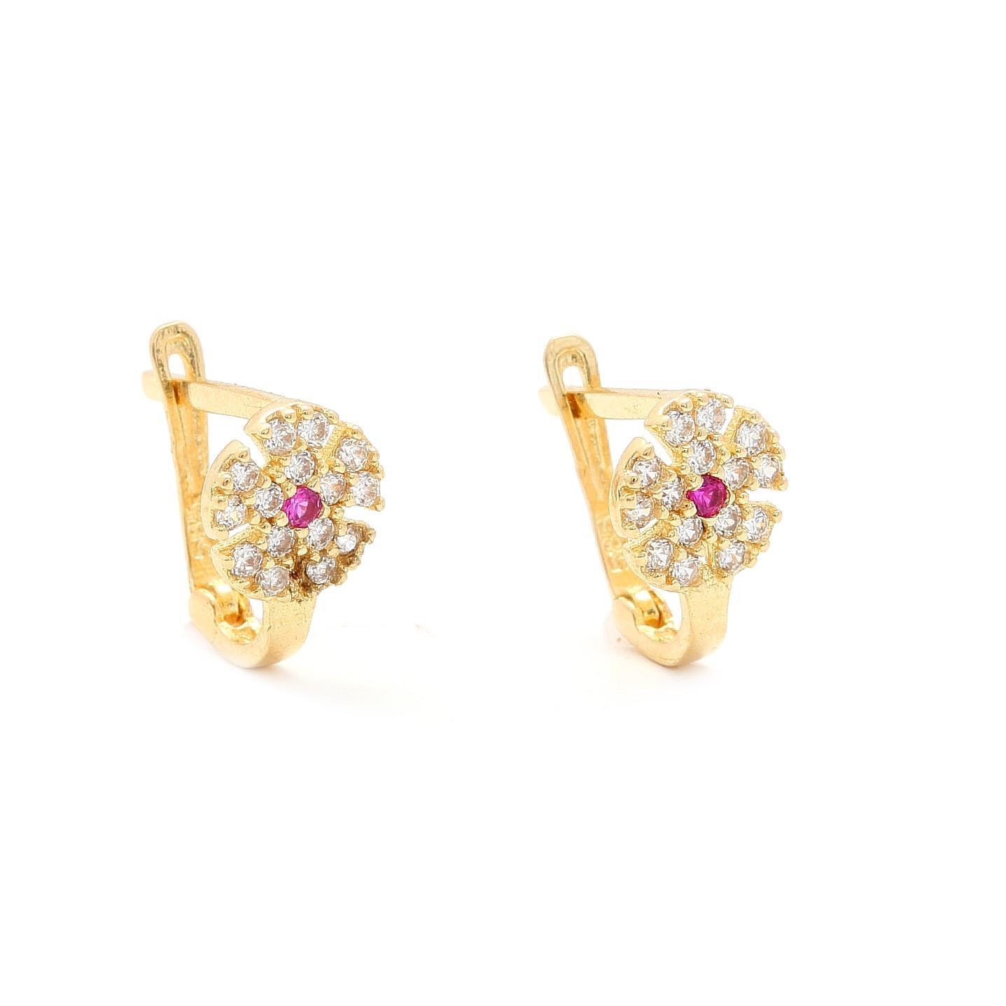 Zlaté náušnice ŽLTÝ KVET s ružovým kamienkom 6d8adc6aa05