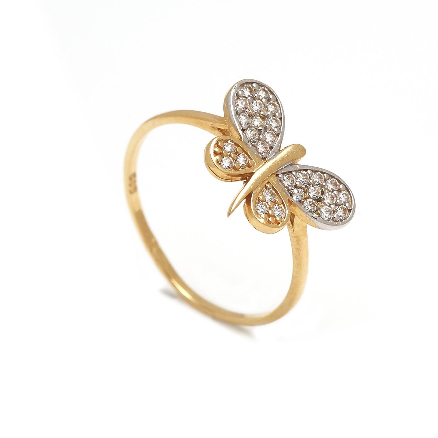 Zlatý dámsky prsteň MOTÝĽ