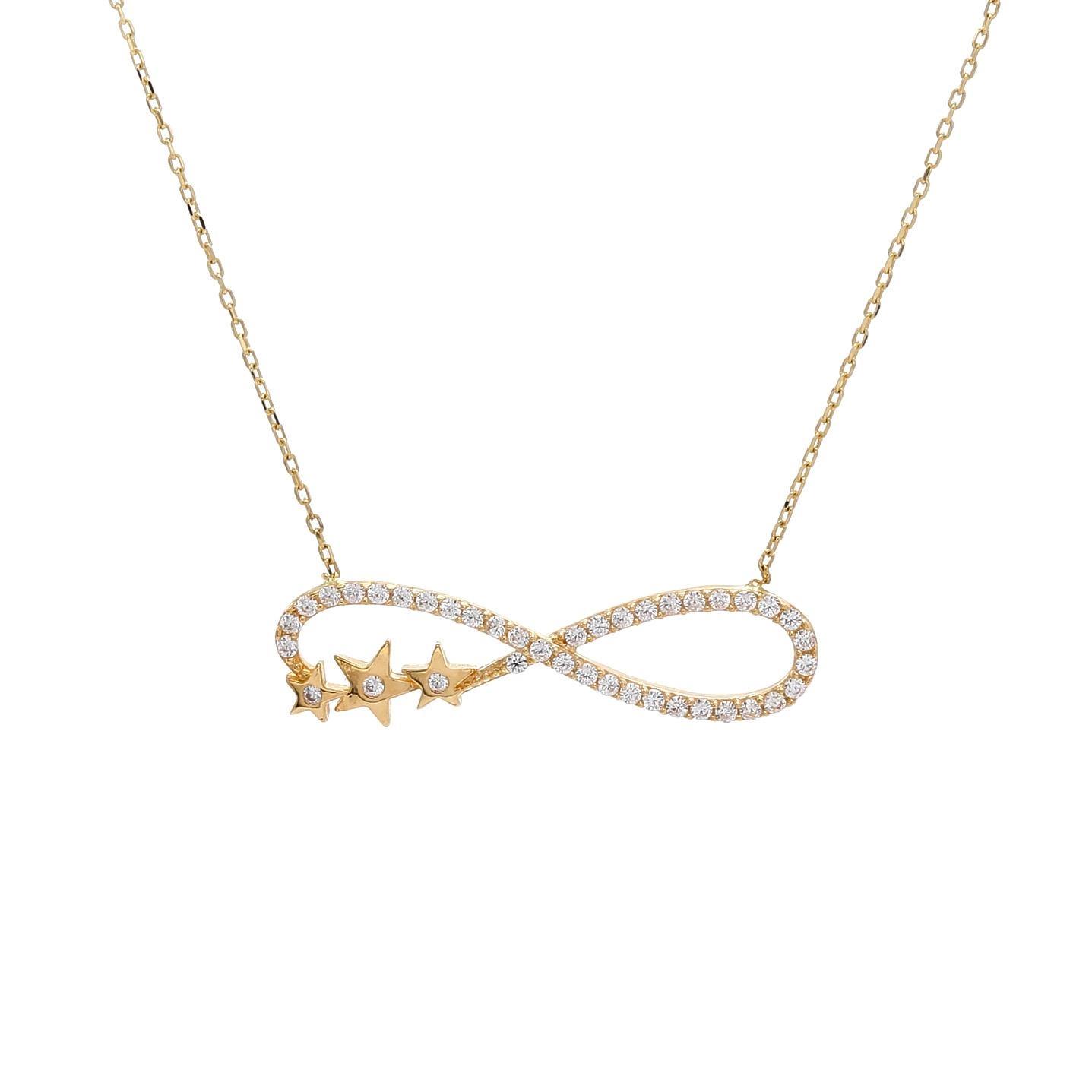 Zlatý náhrdelník NEKONEČNO s hviezdičkami