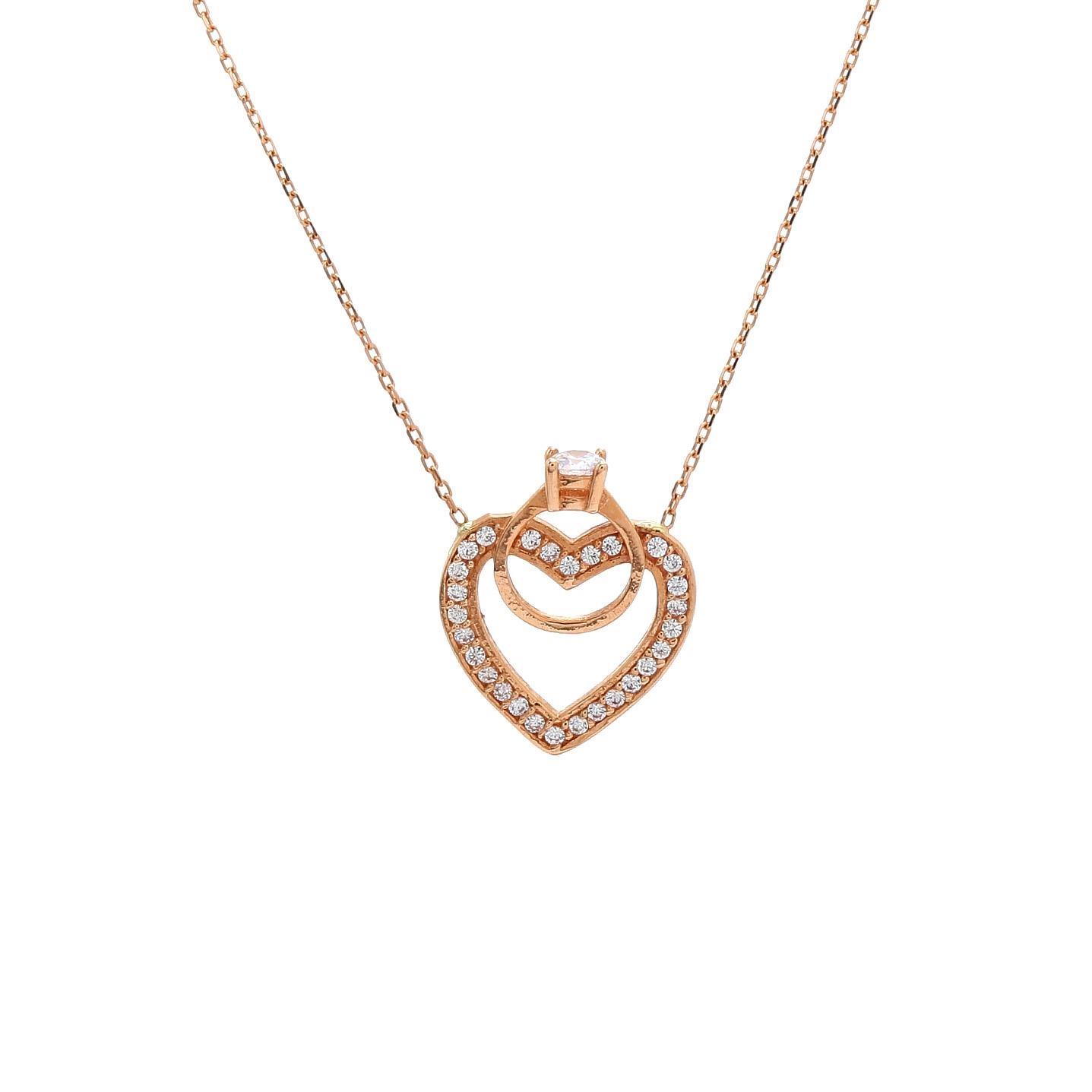 Zlatý náhrdelník SRDCE s prstienkom