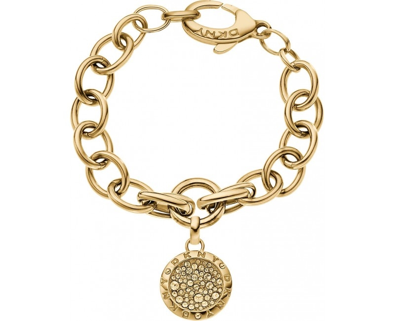 DKNY Zlatý náramok s príveskom s kryštálmi NJ2028040  b69938c2df8