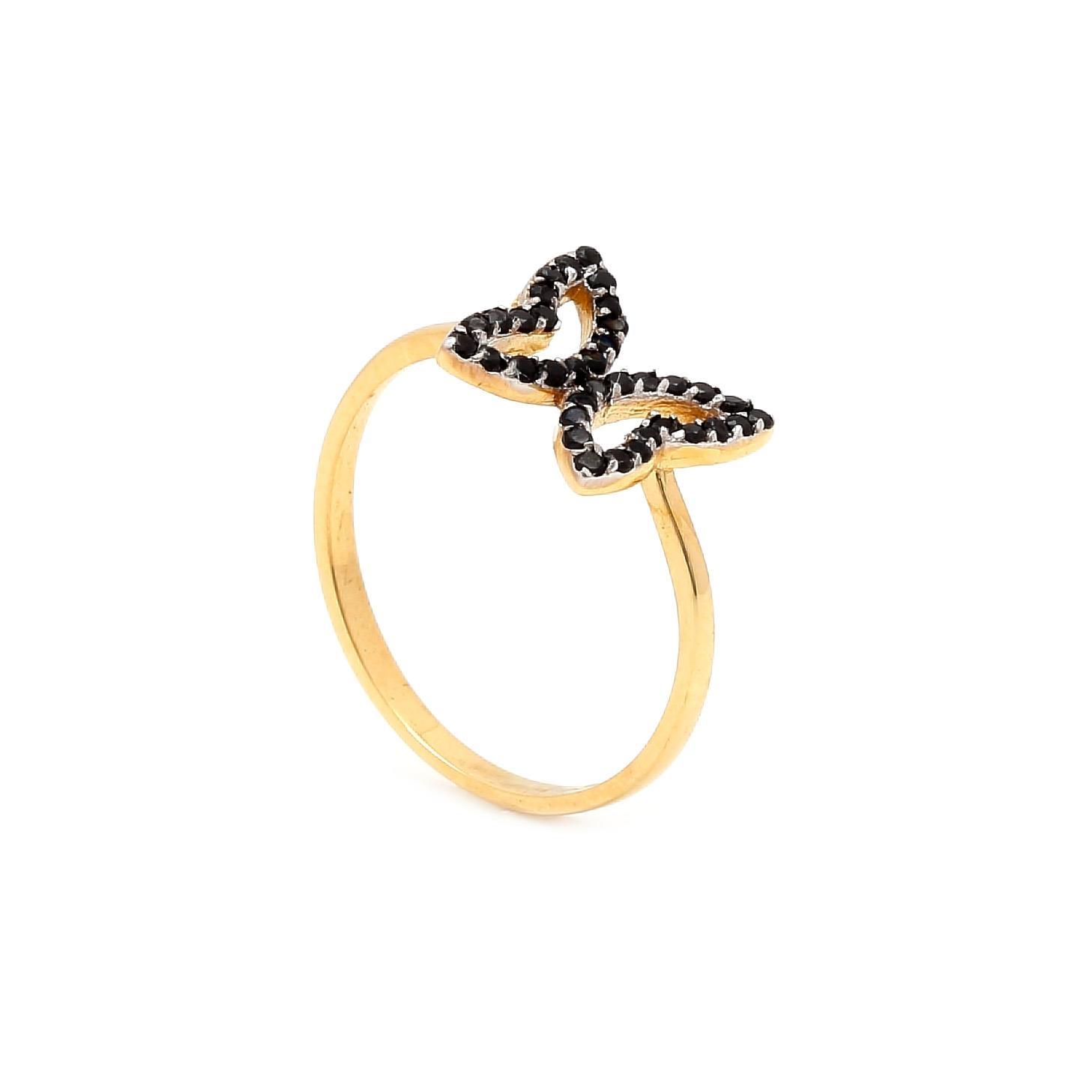 Zlatý prsteň MOTÝĽ s čiernymi kamienkami